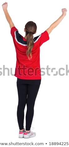 boldog · futball · ventillátor · gyönyörű · szőke · lány - stock fotó © wavebreak_media