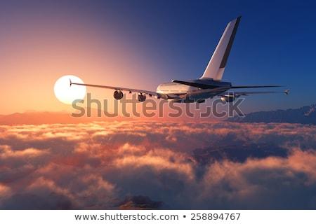 vuelo · hasta · avión · grande · pista · aeropuerto - foto stock © ssuaphoto