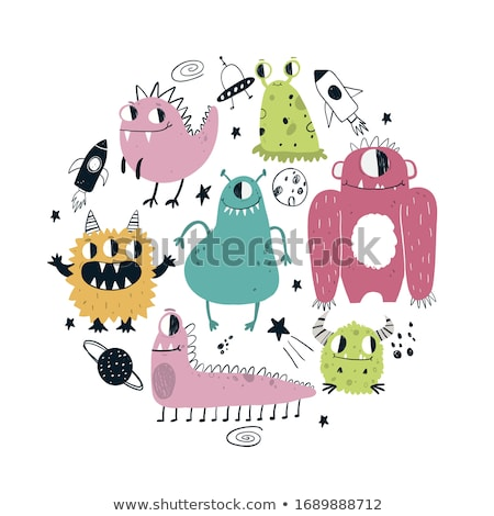 vektor · szett · rajz · aranyos · szörnyek · illusztráció - stock fotó © balabolka
