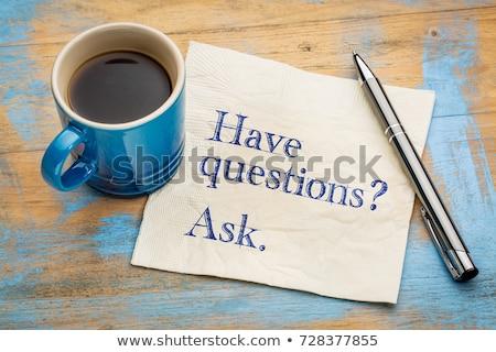 Domande risposte messaggio caffè libro pen Foto d'archivio © fuzzbones0