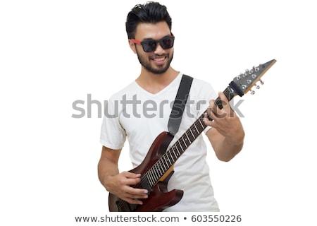 Ritratto vecchio casuale uomo giocare chitarra elettrica Foto d'archivio © feedough