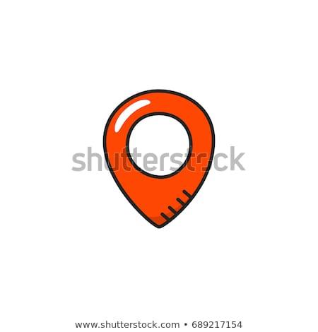 Doodle pin icon Blauw pen Stockfoto © pakete
