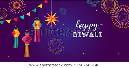 Happy Diwali background with diya and firecracker Stock photo © vectomart