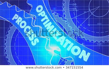 Process Optimization on the Cogwheels. Blueprint Style. Stock photo © tashatuvango