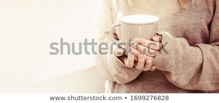 Kéz tart csésze kávé közelkép üzlet Stock fotó © nessokv