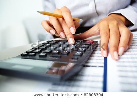 Hand pen calculator knoppen Stockfoto © punsayaporn