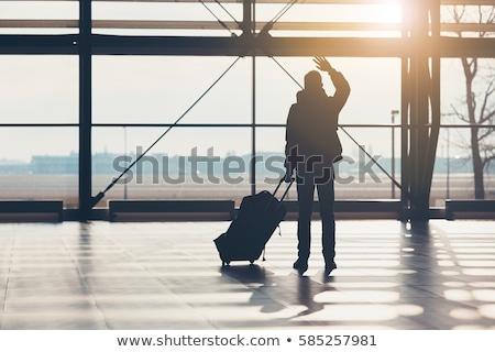 avión · aeropuerto · turbina · grande · espera · salida - foto stock © goosey