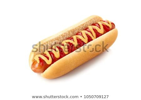 Hot dog étel asztal kutya háttér reggeli Stock fotó © racoolstudio