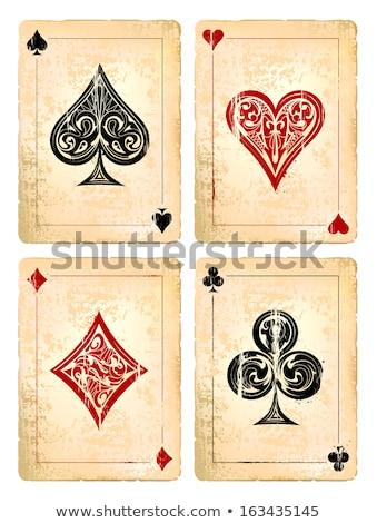 Diamonds poker vintage playing card, vector illustration Stock photo © carodi