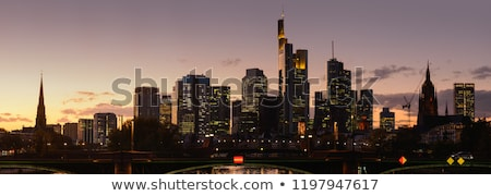 Duitsland · Frankfurt · skyline · hoofd- · zonsondergang - stockfoto © meinzahn