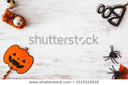 happy halloween set of accessories for greeting card stock photo © orensila
