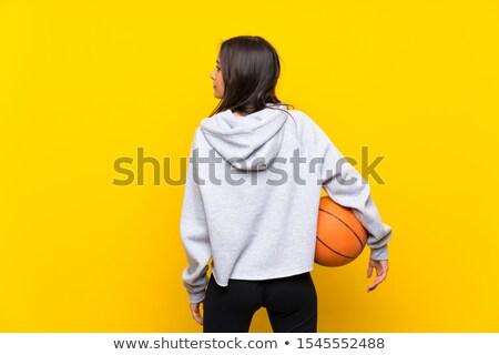 Młoda kobieta koszykówki kobieta stałego strona gotowy Zdjęcia stock © Giulio_Fornasar