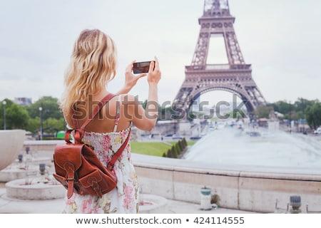 туристических девушки тур Эйфелева Париж иллюстрация Сток-фото © adrenalina