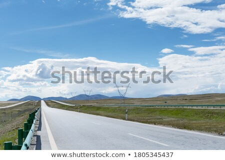 Road stretches into the distance across the steppe Stock photo © TasiPas