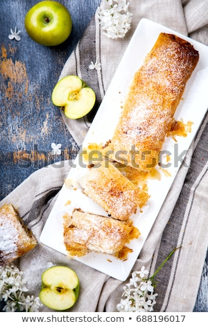 Apples puff tart with ice cream .selective focus.  Stock photo © zoryanchik