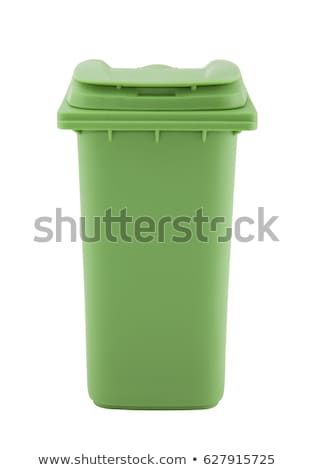 Stock photo: Green recycle bin isolated on white background with clipping path