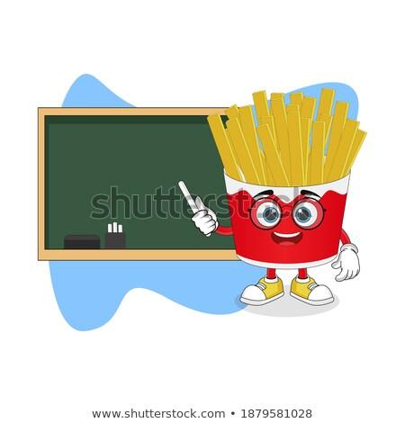 Tanul francia kézzel rajzolt tábla piros fa asztal Stock fotó © tashatuvango