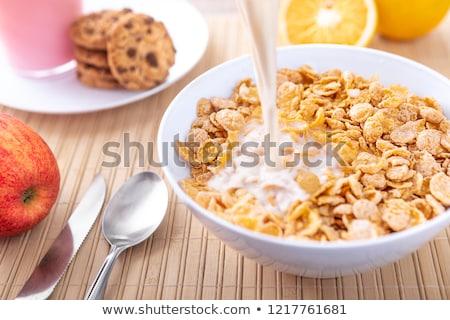 朝食 コーンフレーク ミルク 新鮮果物 ボウル 混合した ストックフォト © Digifoodstock