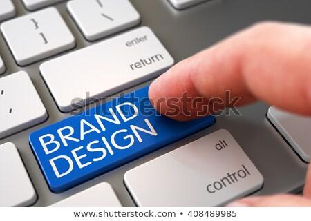 Klawiatury niebieski kluczowych marka budynku 3d ilustracji Zdjęcia stock © tashatuvango