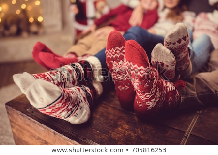 Kind christmas sokken illustratie nacht snoep Stockfoto © adrenalina