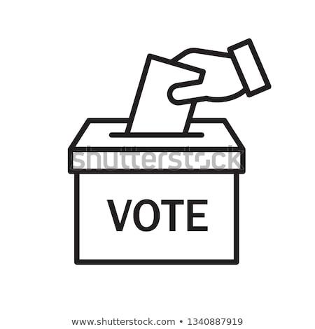 ストックフォト: 投票 · リニア · スタイル · 投票 · 手 · 紙