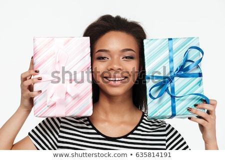 bella · felice · african · donna · piedi - foto d'archivio © deandrobot