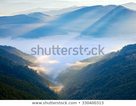 Mountain hazy daybreak with sunbeam and haze Stock photo © wildman