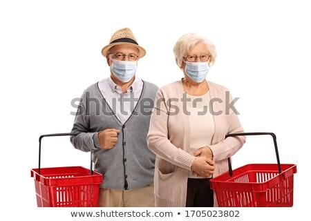 Idős pár bevásárlókosár nő gyümölcs jókedv kosár Stock fotó © IS2