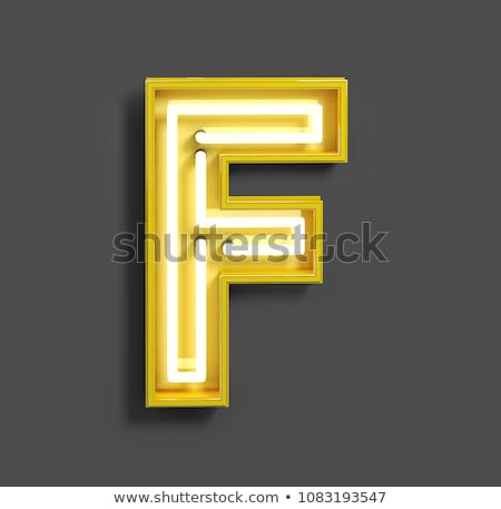 Neon tube letter on yellow background. 3D Stock photo © user_11870380