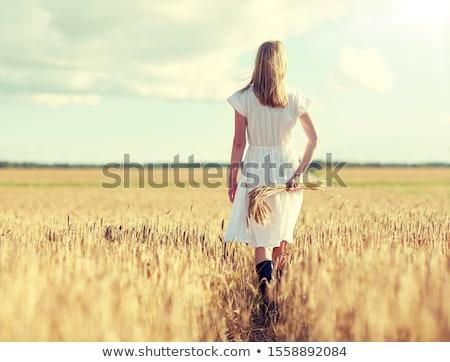 Mujer caminando campo de trigo naturaleza ejecutando diversión Foto stock © IS2