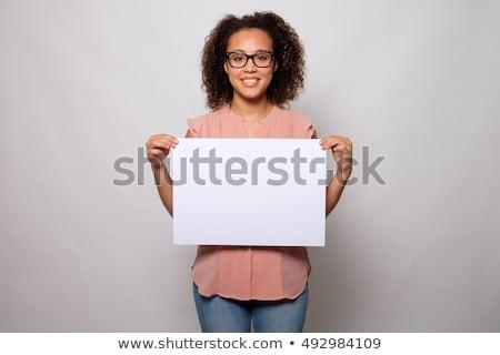 Boldog afroamerikai üzletasszony tart felirat szalag Stock fotó © NikoDzhi