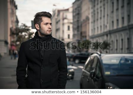 Portret elegante man centrum jonge man voorjaar Stockfoto © majdansky