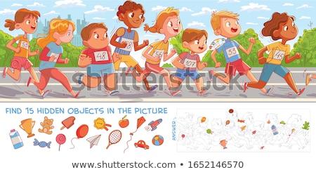 Rejtett tárgyak iskola oktatási játék gyerekek Stock fotó © Olena