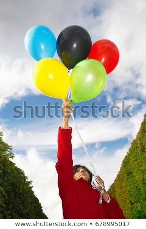 Kız balonlar renkler enerji bulut Stok fotoğraf © IS2