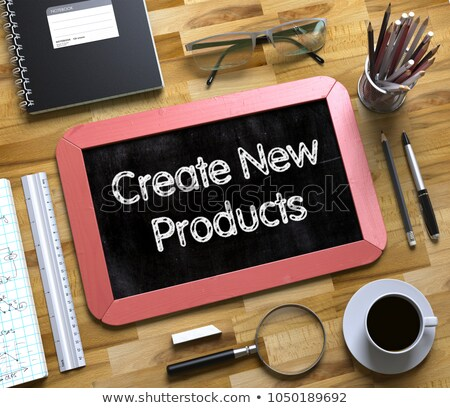 Small Chalkboard with Create New Products Concept. 3d Stock photo © tashatuvango