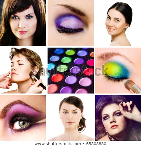 The collage of close up photos of eye make-up Stock photo © Elnur