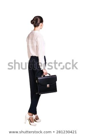 Donna guardando valigetta business desk seduta Foto d'archivio © IS2