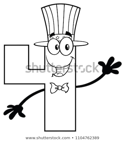 Black And White Patriotic Number Four Cartoon Mascot Character Wearing A USA Hat Waving Stock photo © hittoon