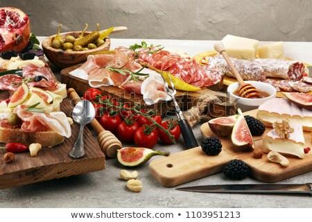 cheese, bread and salami Stock photo © M-studio