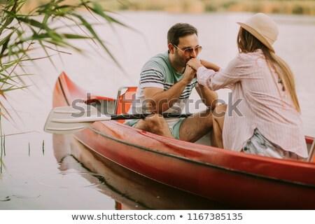 Liefhebbend man zoenen handen vrouw boot Stockfoto © boggy
