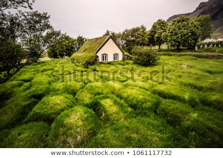 Photo stock: Gazon · église · Islande · au · sud-est · herbe · architecture