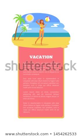 Vakantie zomer poster meisje spelen bal Stockfoto © robuart
