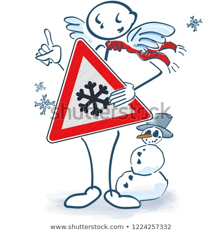 Stick figure as angel with a snowflake sign in front of the body with snowman Stock photo © Ustofre9