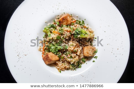 Tofu and broccoli stir-fry with white rice Stock photo © Alex9500