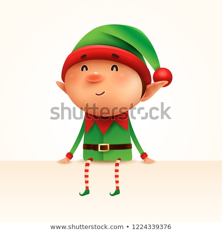 Little elf sits at the edge. Isolated. Stock photo © ori-artiste
