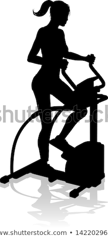 Gym Woman Silhouette Elliptical Cross Fit Machine Stock photo © Krisdog