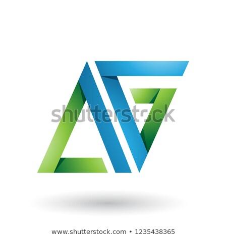 Mavi yeşil katlanmış üçgen mektup g vektör Stok fotoğraf © cidepix