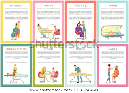 Body Wrap and Manicure Tanning Posters Set Vector Stock photo © robuart