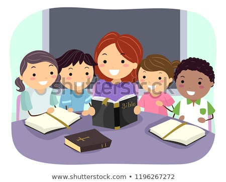Stickman Kids Christian School Illustration Stock photo © lenm