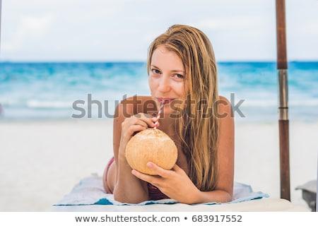 kokosnoot · cocktail · turkoois · caribbean · strand · cocktails - stockfoto © galitskaya
